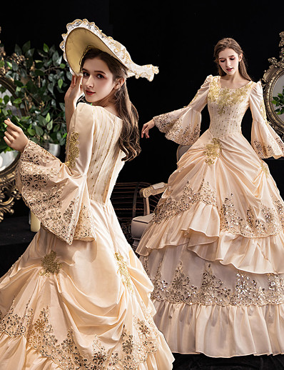cheap Historical & Vintage Costumes-Maria Antonietta Vintage Rococo Medieval Vacation Dress Dress Party Costume Masquerade Prom Dress Winter Women's Sequin Sequins Costume Champagne Vintage Cosplay 3/4-Length Sleeve Party Masquerade