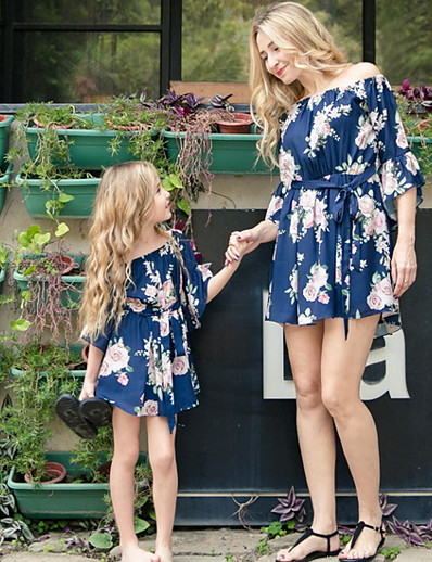 cheap Family Matching Outfits-Mommy and Me Family Matching Outfits Clothing Set Floral Black Navy Blue