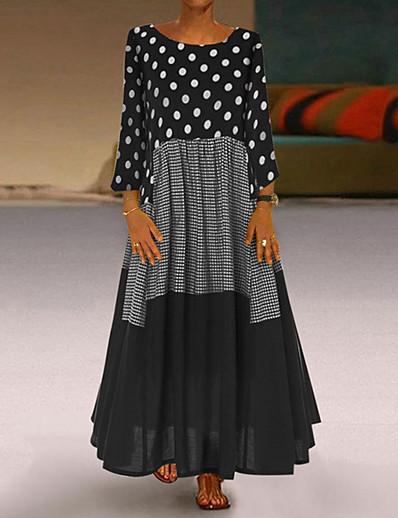 cheap Maxi Dresses-Women's Plus Size Maxi A Line Dress - Long Sleeve Polka Dot Patchwork Print Spring Fall Casual Holiday Vacation Loose 2020 Black Red Yellow M L XL XXL XXXL XXXXL XXXXXL