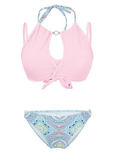 cheap Bikini Sets-Women's Bikini Swimwear Swimsuit - Geometric S M L Blushing Pink Dusty Rose Green Light Green