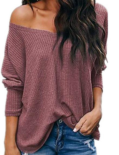 cheap Sweaters & Cardigans-Women's T-shirt Solid Colored Loose Tops Cotton V Neck White Black Red