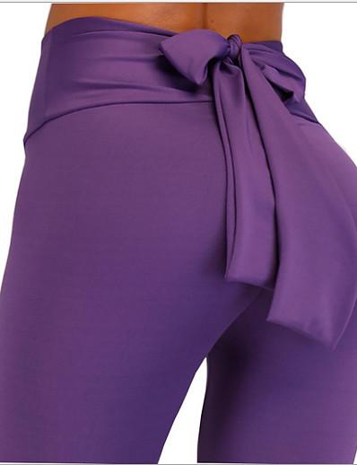 abordables Bas pour femmes-Femme Basique Legging Couleur Pleine Imprimé Taille médiale Bleu Violet Vert Véronèse S M L