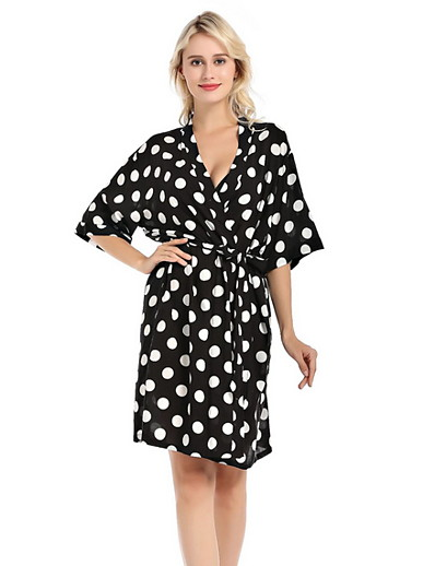 cheap Pajamas-Women's Deep V Robes Pajamas Polka Dot