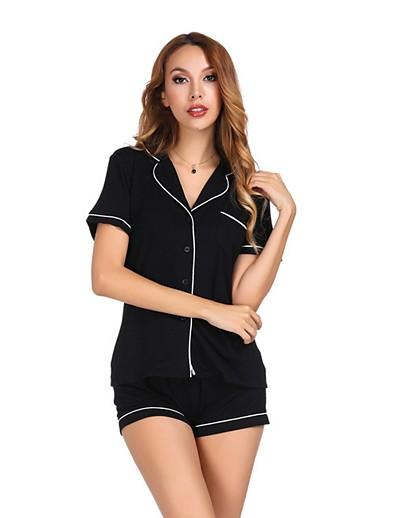 cheap CLOTHING-Women's Suits Nightwear Black White S M L