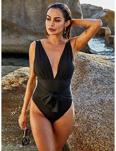cheap Sexy Swimwear-Women's One-piece Swimwear Swimsuit - Paisley Solid Colored S M L Black