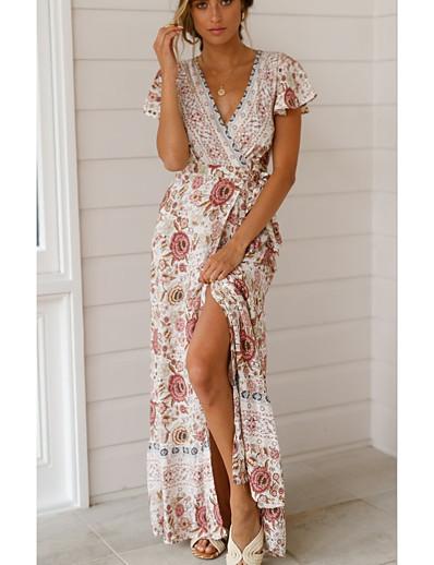 cheap Dresses-Women's Maxi Wine Fuchsia Dress Swing Print V Neck S M
