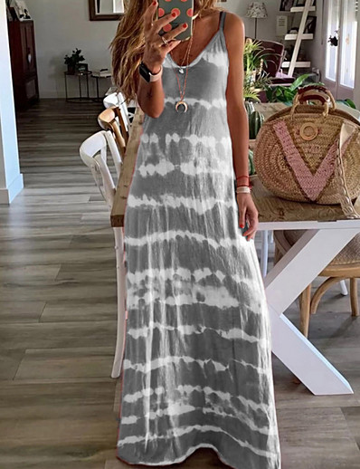 cheap Boho Dresses-Women's Strap Dress Maxi long Dress Sleeveless Tie Dye Summer Hot Casual Blue Purple Blushing Pink Wine Khaki Gray Light Blue S M L XL XXL 3XL 4XL 5XL