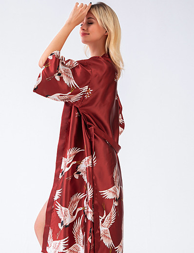 cheap Pajamas-Women's Lace up Print Normal Robes Satin & Silk Nightwear Solid Colored Floral Black / Blushing Pink / Wine M L XL