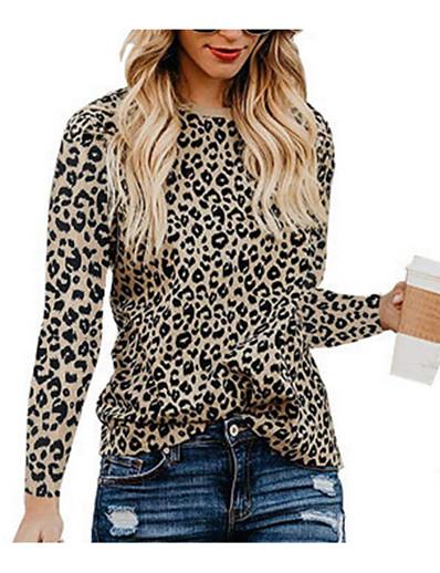 cheap TOPS-Women's Daily T-shirt - Leopard White