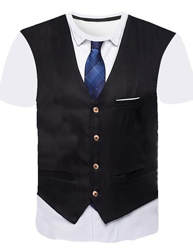 cheap Men's 3D-Men's T shirt Graphic Abstract 3D Print Short Sleeve Going out Tops Business Streetwear Round Neck Black Wine Light gray / Work