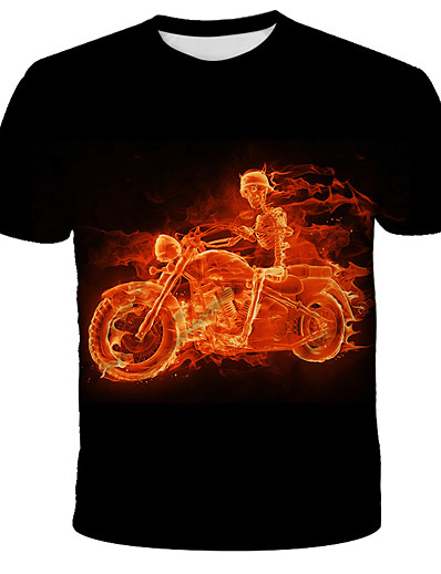 cheap Men's 3D-Men's T shirt Shirt 3D Animal Print Short Sleeve Daily Tops Streetwear Exaggerated Round Neck Black