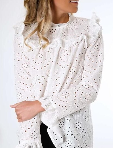 cheap Blouses & Shirts-Women's Daily Loose Shirt - Solid Colored Lace / Ruffle / Embroidery White / Hollow Out