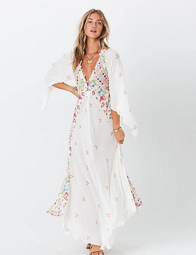 cheap Summer Dresses & Boho-Women's Maxi Loose Dress - 3/4 Length Sleeve Print Deep V White Black S M L XL XXL