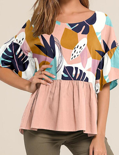 cheap TOPS-Women's Daily T-shirt - Striped Blushing Pink
