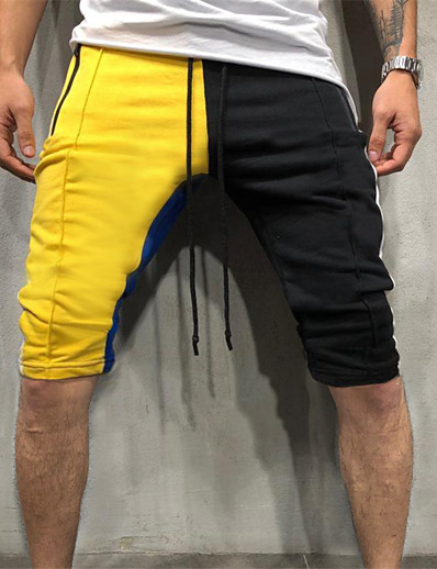 cheap Running, Jogging & Walking-Men's Running Shorts Athletic Shorts Bottoms Drawstring Cotton Fitness Gym Workout Running Breathable Soft Sport Yellow / Black Red+Blue Green / Black Dusty Rose / Stretchy