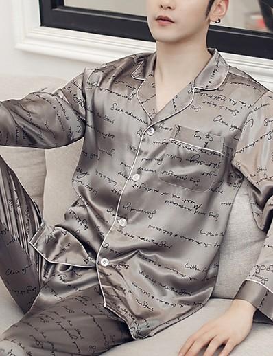 cheap Pajamas-Men's Shirt Collar Suits Pajamas Geometric