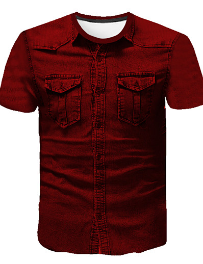 cheap Men's 3D-Men's T shirt Shirt Solid Colored Abstract 3D Print Short Sleeve Going out Tops Business Streetwear Round Neck Wine / Work