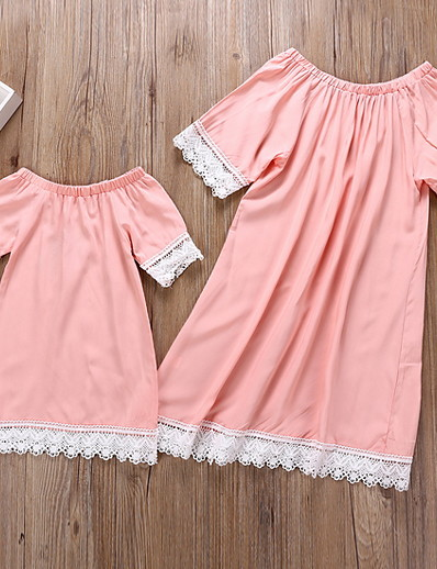 cheap Family Matching Outfits-Mommy and Me Color Block Clothing Set Blushing Pink