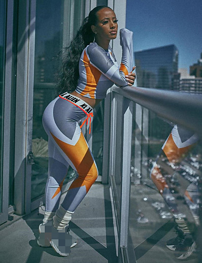 cheap Running, Jogging & Walking-Women's 2 Piece Activewear Set Workout Outfits Compression Suit Athletic Athleisure Winter Long Sleeve Elastane Breathable Soft Fitness Gym Workout Running Jogging Sportswear Skinny Orange Activewear