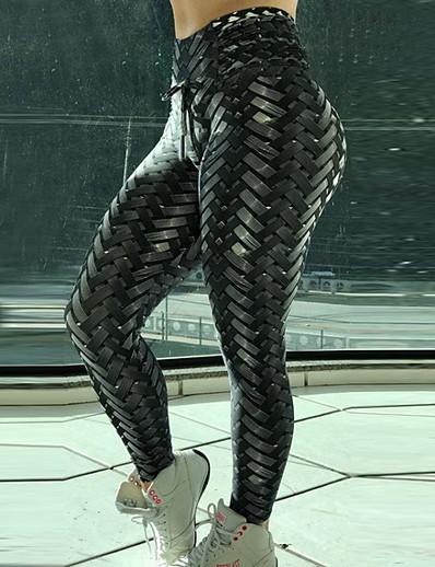 abordables Bas-Femme Basique Legging Géométrique Imprimé Taille médiale Noir S M L / Mince