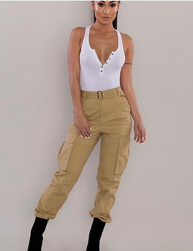 abordables Bas pour femmes-Femme basique Coton Ample Chino Pantalon Couleur Pleine Noir Bleu Rouge