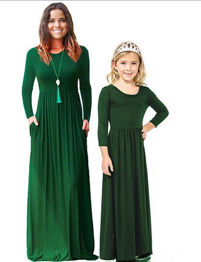 cheap Family Matching Outfits-Mommy and Me Solid Colored Dress Wine