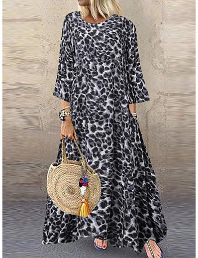 cheap Maxi Dresses-Women's Asymmetrical Brown Gray Dress Maxi Dress Spring Vacation Beach Home A Line Loose Leopard Oversize S M