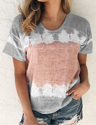 cheap TOPS-Women's Geometric Color Block T-shirt Causal Daily Crew Neck Wine / Blue / Purple / Blushing Pink / Fuchsia / Khaki / Gray / Light Blue