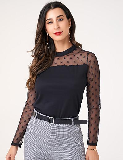 cheap TOPS-women's fashion elegant star mesh elastic knitting bottoming Shirt Long Sleeve T-Shirt