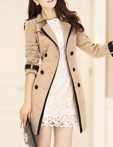 cheap Coats & Trench Coats-Women's Solid Colored Basic Spring &  Fall Trench Coat Long Daily Long Sleeve Polyester Coat Tops Black