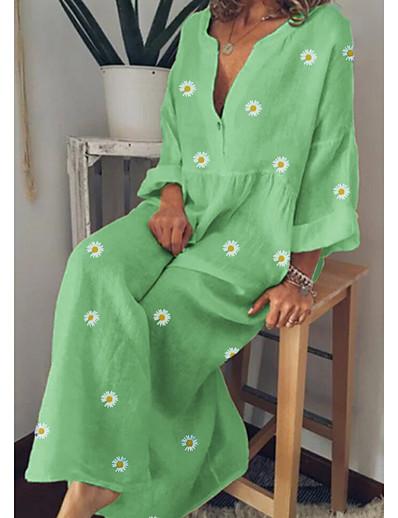 cheap SALE-Women's Maxi A Line Dress - Long Sleeve Floral Floral Spring Summer V Neck Vacation Loose Yellow Green Light Blue M L XL XXL XXXL XXXXL XXXXXL / Cotton