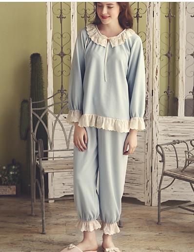 cheap Pajamas-Women's Suits Nightwear Blue M L