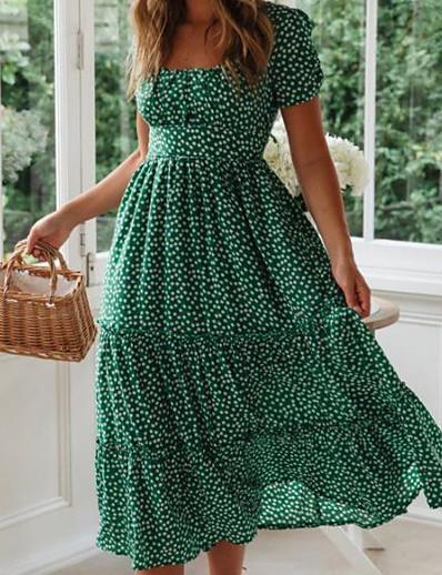 cheap Boho Dresses-Women's A-Line Dress Midi Dress - Short Sleeve Polka Dot Summer Deep U Casual / Daily Boho 2020 Black Red Yellow Green S M L XL