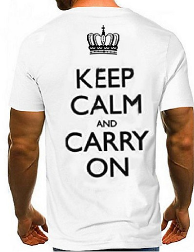 cheap Men's Tops-Men's Daily Weekend Basic T-shirt - Color Block / 3D White Keep Calm and Carry on
