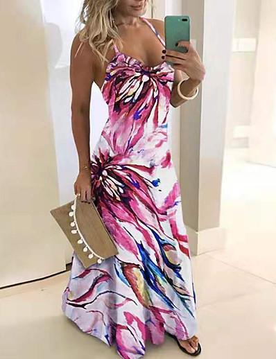 cheap Best Sellers-Women's Plus Size Maxi Swing Dress - Sleeveless Print Color Block Strap Slim Blushing Pink S M L XL XXL XXXL XXXXL XXXXXL