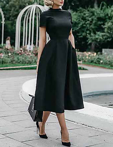 cheap Midi Dresses-Women's Black Dress Elegant Swing Solid Colored S M Slim