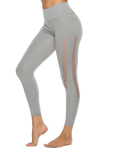 cheap Leggings-Women's Basic Legging - Solid Colored, Print Mid Waist Blushing Pink Black Beige S M L