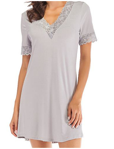 cheap Pajamas-Women's Chemises & Gowns Nightwear Black Gray S M L