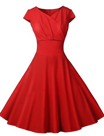 abordables NOUVELLE DANS-Femme Robe Trapèze Robe Midi - Manches Courtes Couleur unie Patchwork Eté Rétro Vintage 2020 Rouge S M L XL XXL
