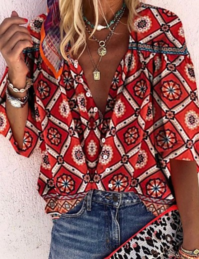 cheap Blouses & Shirts-Women's Daily Boho Loose Shirt - Geometric Floral V Neck Red / Puff Sleeve