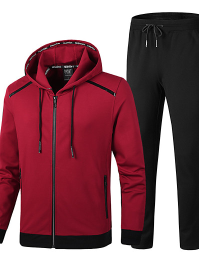 cheap Running, Jogging & Walking-Men's 2 Piece Full Zip Tracksuit Sweatsuit Jogging Suit Street Casual Winter Long Sleeve Cotton Thermal Warm Breathable Soft Fitness Running Jogging Sportswear Solid Colored Track pants Black Red