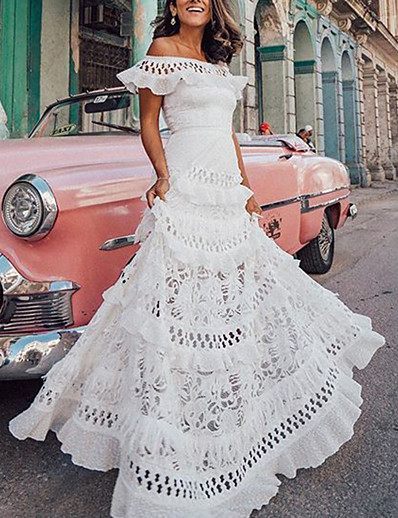 cheap Lace Dresses-Women's A Line Dress Maxi long Dress White Short Sleeve Solid Color Ruffle Spring & Summer Off Shoulder Hot vacation dresses S M L XL