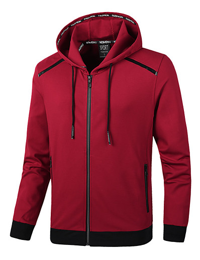 cheap Running, Jogging & Walking-Men's Long Sleeve Running Track Jacket Hoodie Jacket Full Zip Outerwear Jacket Athleisure Wear Summer Windproof Breathable Soft Fitness Running Jogging Sportswear Solid Colored Black Red Army Green