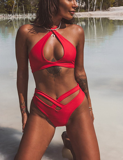 cheap Sexy Swimwear-Women's Halter Basic Bikini Swimsuit Lace up Solid Colored Swimwear Bathing Suits Red Army Green
