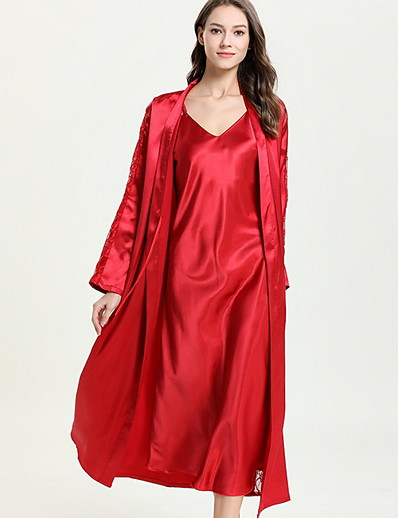 cheap Satin Pajamas-Women's Deep V Suits Pajamas Solid Colored