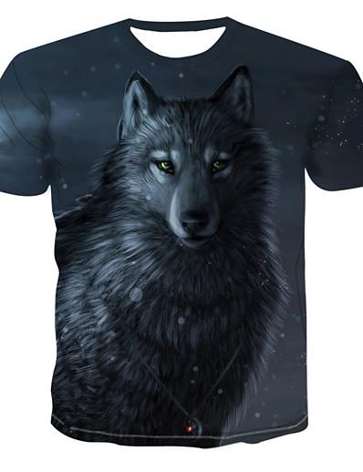 cheap Men's 3D-Men's T shirt Shirt 3D Animal Print Short Sleeve Daily Tops Streetwear Exaggerated Round Neck Rainbow