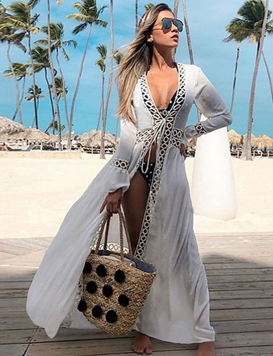 cheap Cover Ups-2020 Bikini Cover-ups Sexy Hollow Out White Cotton Tunic Summer Dress Women Beach Wear Swimsuit Cover Up