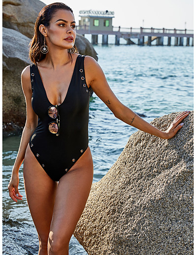 cheap Sexy Swimwear-Women's One-piece Swimwear Swimsuit - Solid Colored S M L Black