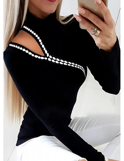 cheap TOPS-Women's Blouse Shirt Solid Colored Long Sleeve Round Neck Tops Slim Basic Top Black