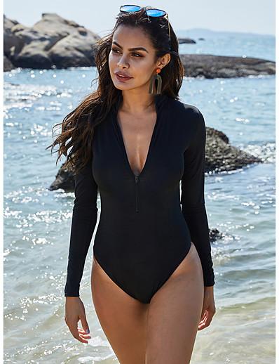 cheap Sexy Swimwear-Women's Chic & Modern One-piece Swimsuit Sexy Slim Tummy Control Solid Colored V Neck Swimwear Bathing Suits Black